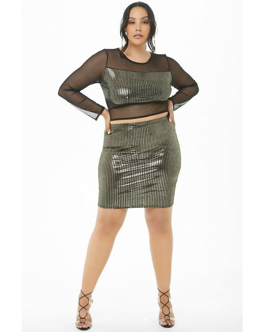 90b6f22c ... Lyst Forever 21 - Black Women's Plus Size Metallic Striped Crop Top &  Skirt Set ...