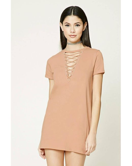 Forever 21 | Natural Crisscross Lace-up Dress | Lyst
