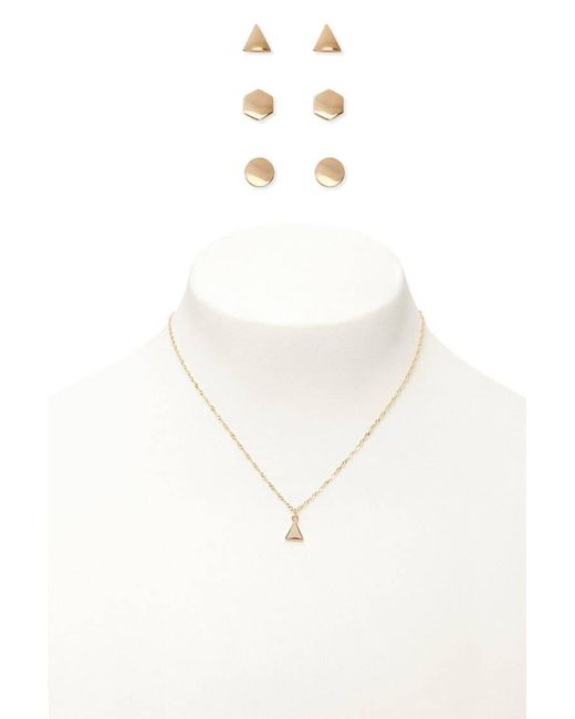 Forever 21 | Metallic Twisted Necklace & Earring Set | Lyst