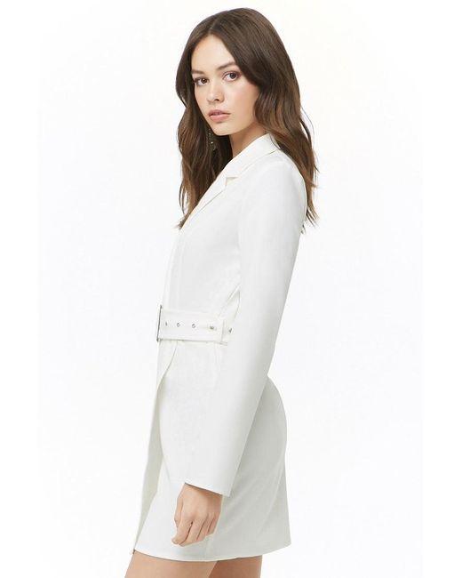 58519ccda3cb ... Forever 21 - White Belted Mini Dress - Lyst