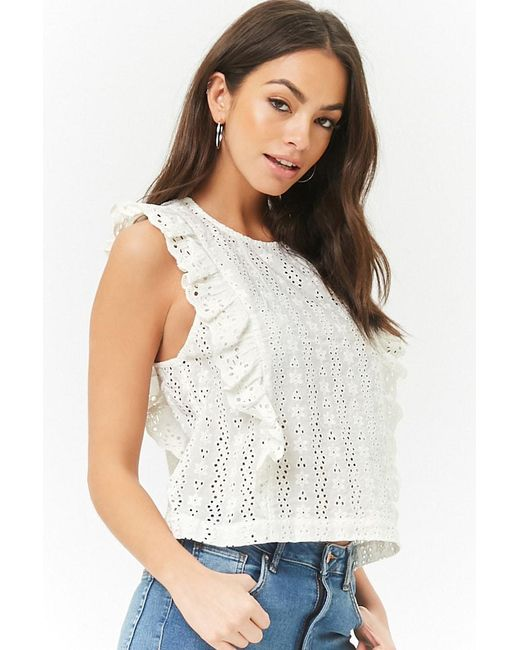 Forever 21 - Multicolor Eyelet Ruffle Top - Lyst