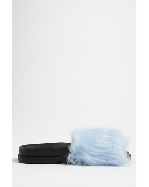 Forever 21 - Blue Faux Fur Slide Sandals - Lyst