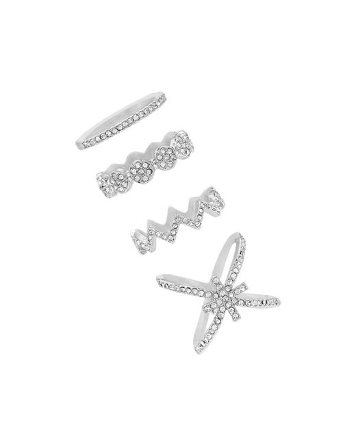 Forever 21 | Metallic Rhinestone Crisscross Ring Set | Lyst