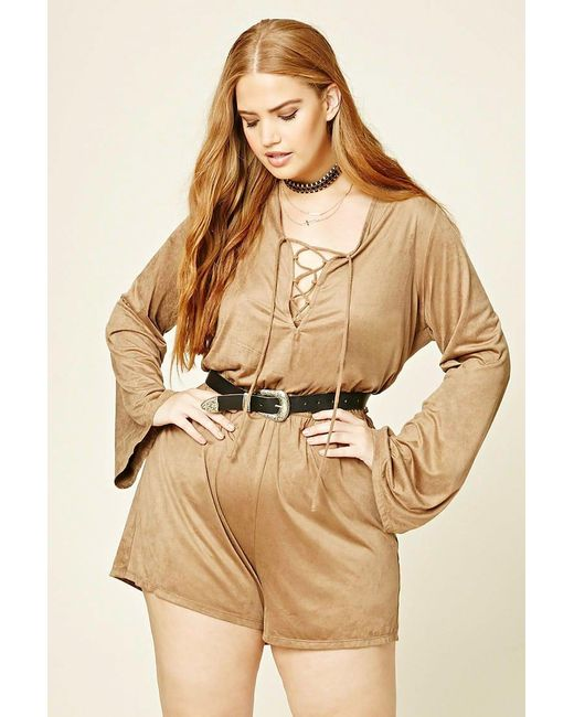 Forever 21 | Natural Plus Size Faux Suede Playsuit | Lyst