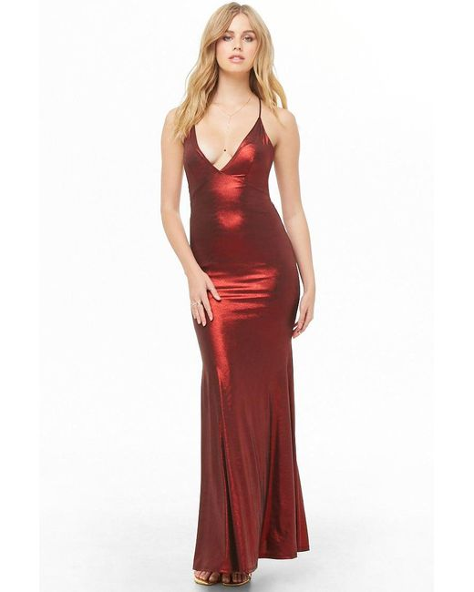 b29c3e80cc9 Forever 21 - Red Lace-up Metallic Maxi Dress - Lyst ...