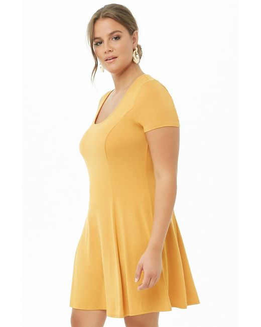 2af1704acc8 Forever 21 Women s Plus Size Scoop Neck Skater Dress in Yellow - Lyst