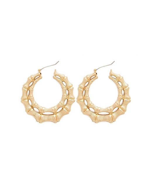 Forever 21 Metallic Double Bamboo Hoop Earrings Lyst