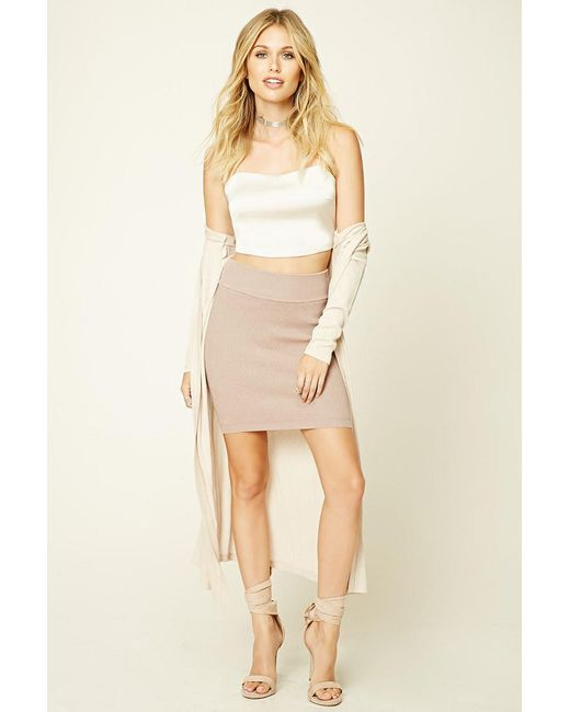 Forever 21 | Natural Ribbed Knit Bodycon Mini Skirt | Lyst
