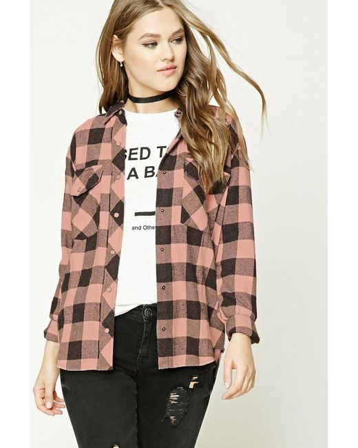 Forever 21   Multicolor Distressed Buffalo Check Shirt   Lyst