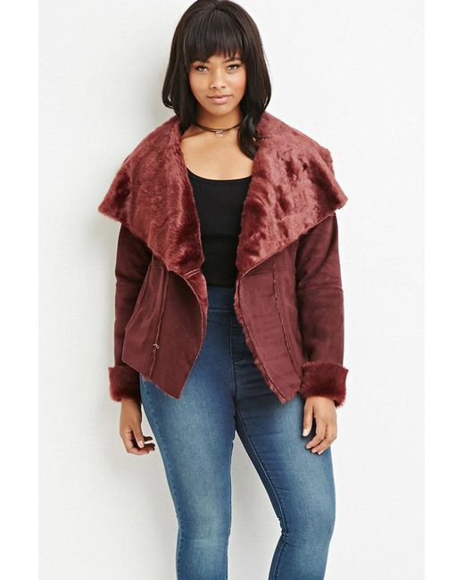 Forever 21 | Purple Plus Size Faux Fur-lined Coat | Lyst
