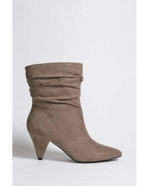Forever 21 - Gray Ruched Faux Suede Ankle Boots - Lyst