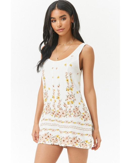 Forever 21 - White Floral Scoop-neck Romper - Lyst