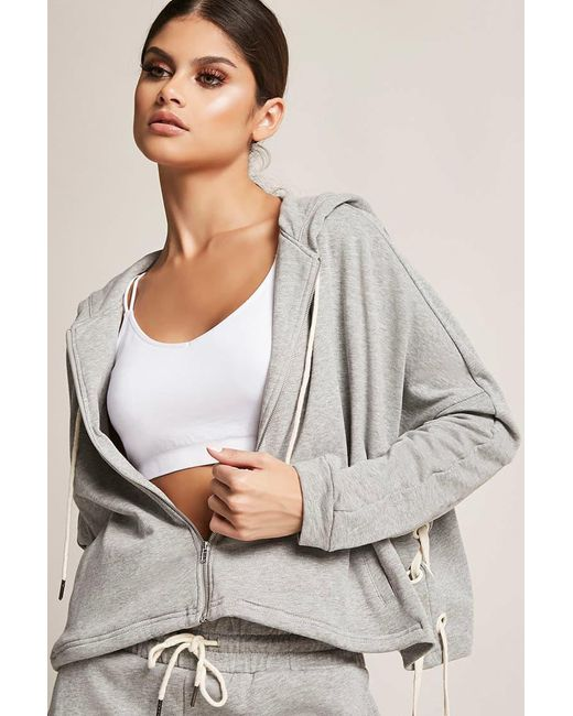 Forever 21 - Gray French Terry Lace-up Hoodie - Lyst