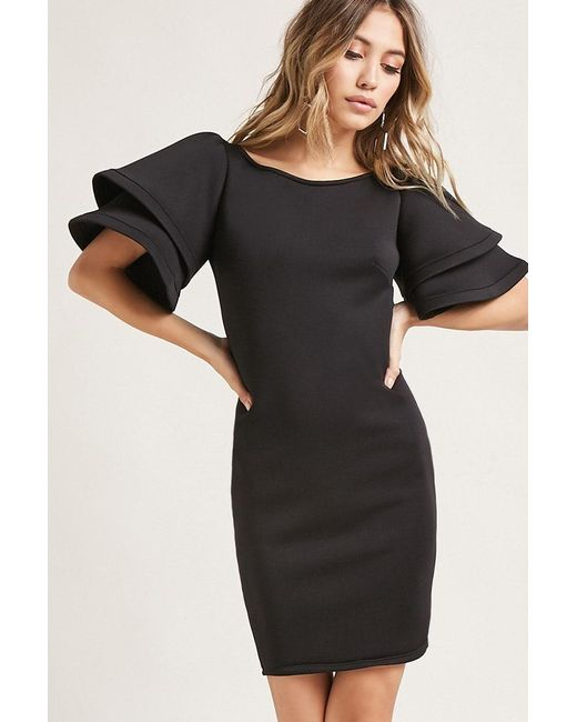 Forever 21 - Black Flounce Sleeve Scuba Knit Dress - Lyst