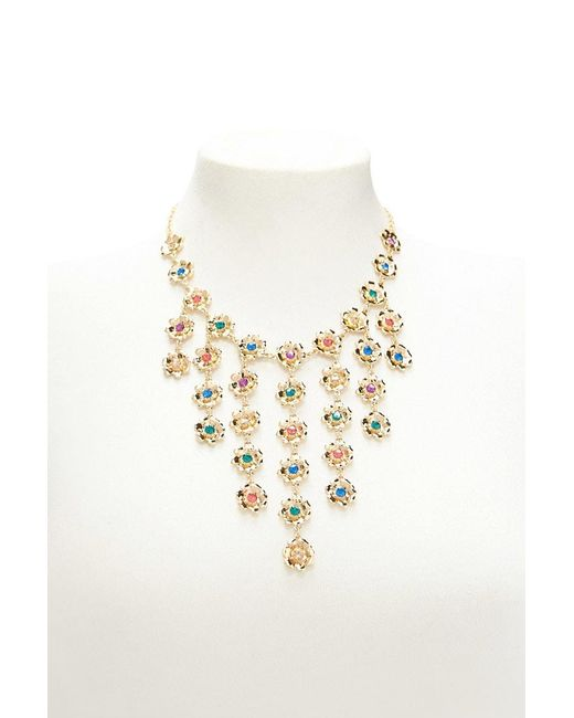 Forever 21 - Metallic Floral Rhinestone Statement Necklace - Lyst