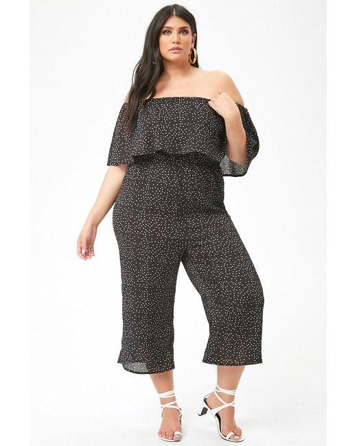 39d1c6343e799 Forever 21 - Black Plus Size Polka Dot Culotte Jumpsuit - Lyst ...