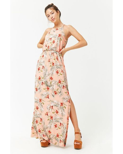5c63ebf7fb3 Forever 21 - Pink Floral Palm Leaf Print Maxi Dress - Lyst ...
