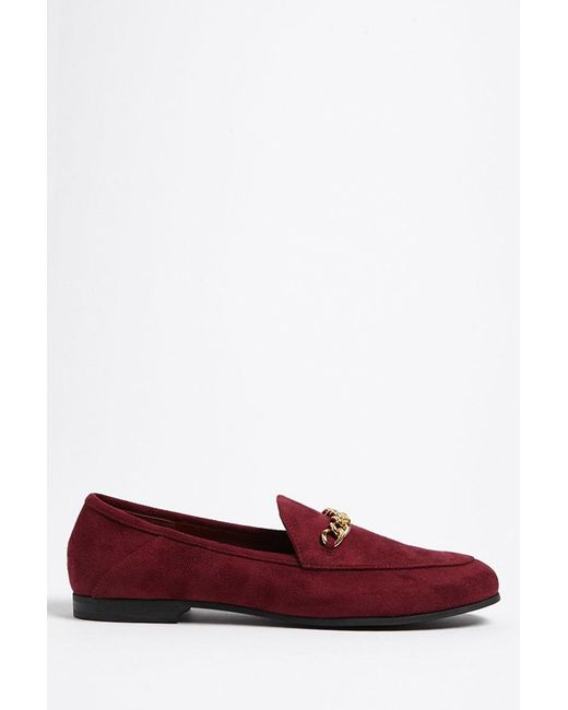 Forever 21 - Red Faux Suede Loafers - Lyst