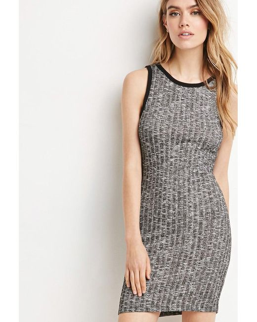 FOREVER21 - Gray Ribbed Knit Bodycon Dress - Lyst