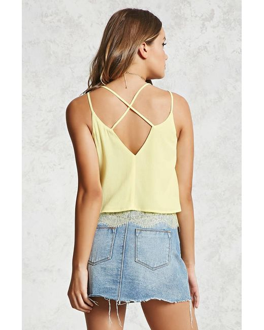 ... Forever 21 - Yellow Eyelash Lace Cami - Lyst ...