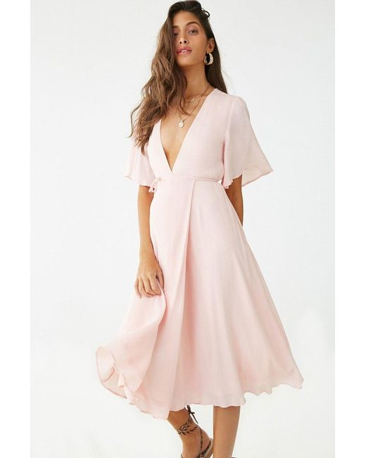 5cb9d33eee Forever 21 - Pink Bell Sleeve Mock Wrap Dress - Lyst ...