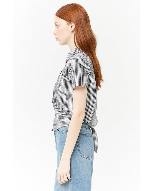 414d3c0097 ... Lyst Forever 21 - Black Women s Gingham Tie-back Shirt ...