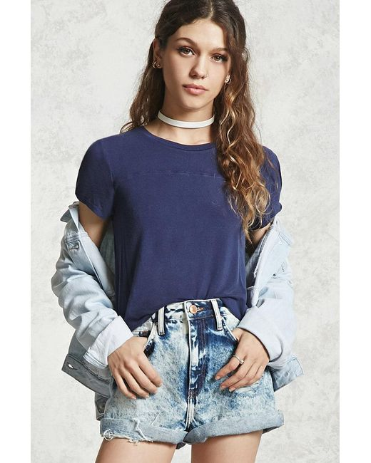 Forever 21 - Blue Faded Wash High-low Tee - Lyst