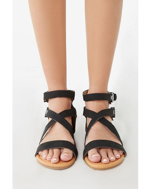 f9c71039cf ... Forever 21 - Black Strappy Faux Suede Sandals - Lyst