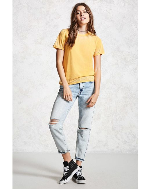 ... Forever 21 | Multicolor Rolled-cuff Burnout Tee | Lyst