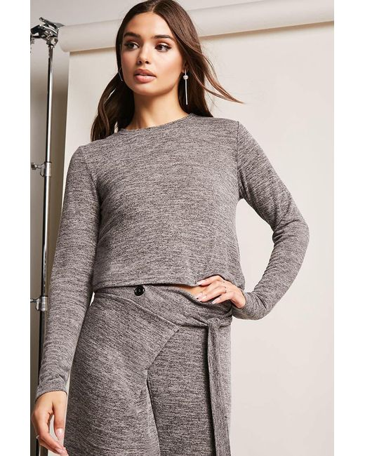 Lyst Forever 21 Marled Knit Top In Gray