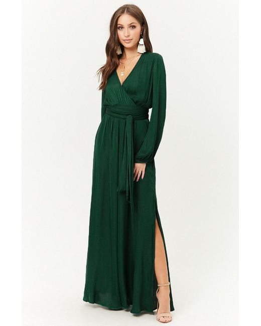 271b8d5d5c Forever 21 - Green Belted Surplice Maxi Dress - Lyst ...