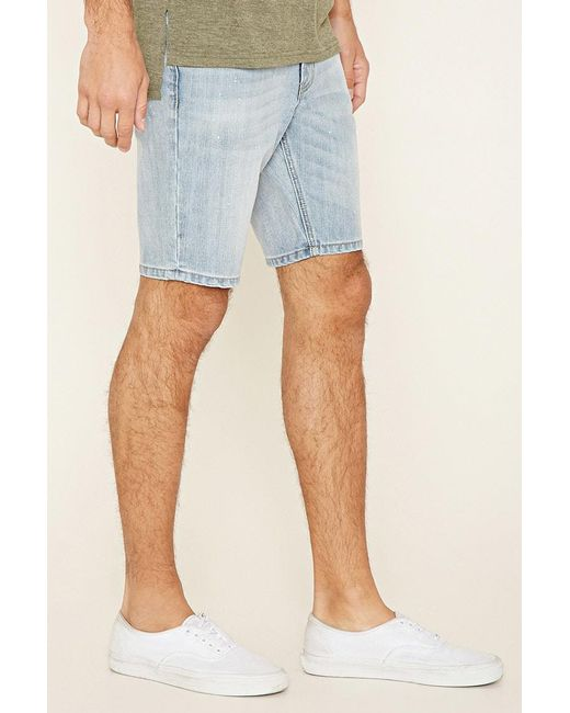 Forever 21 | Green Paint-spattered Denim Shorts for Men | Lyst