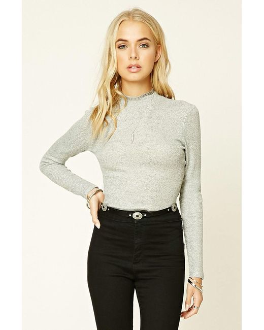 Forever 21 | Gray Marled Knit Top | Lyst