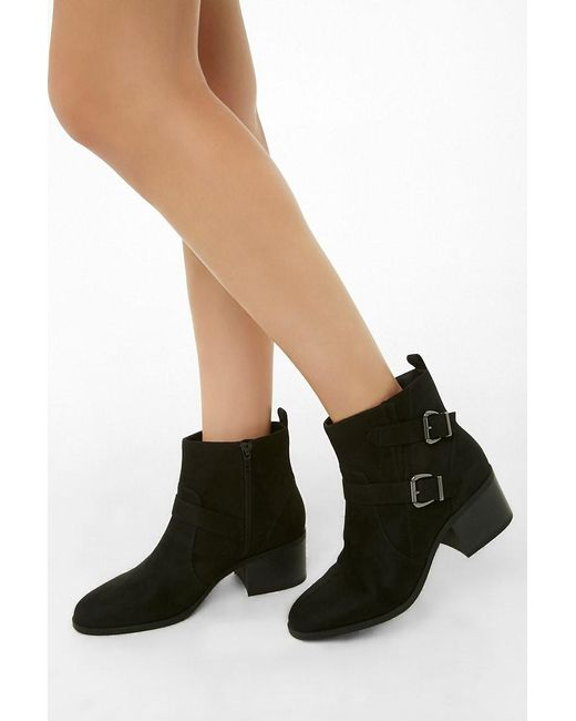 Forever 21 - Black Women's Faux Suede Double-buckle Boots - Lyst