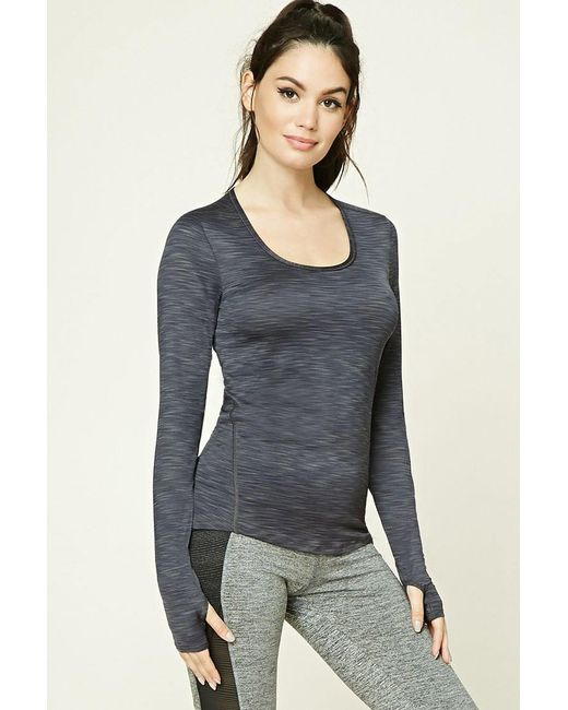 Lyst Forever 21 Active Ribbed Knit Top In Blue