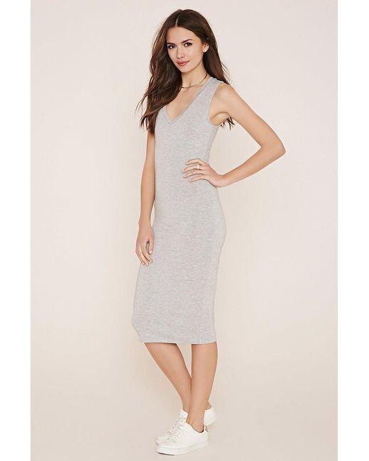 Forever 21   Gray Contemporary Midi Dress   Lyst