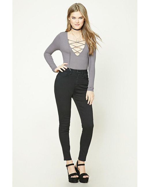 87c2a913e3 ... Forever 21 - Gray Women s Ribbed Knit Lace-up Top - Lyst
