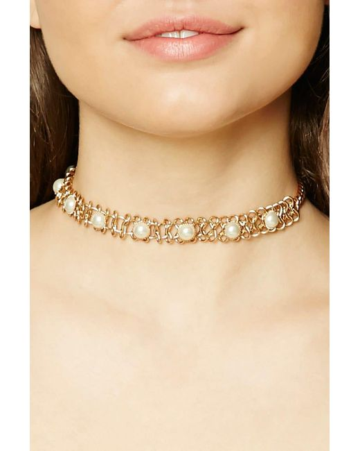 Forever 21 | Metallic Faux Pearl Choker | Lyst