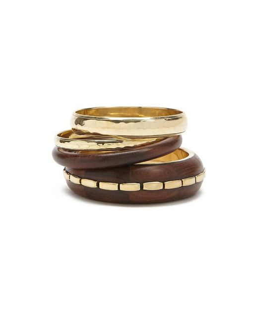 Forever 21 - Metallic Wooden Bangle Bracelet Set - Lyst