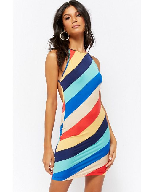 Forever 21 - Blue Striped Strappy Mini Dress - Lyst