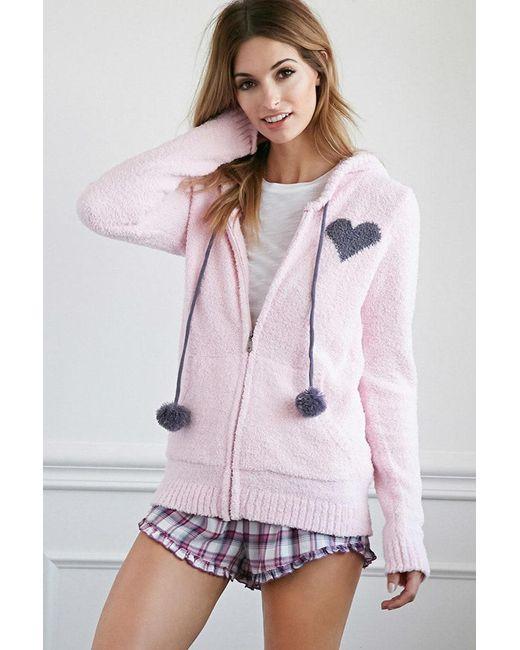 FOREVER21 - Pink Plush Pom Drawstring Hoodie - Lyst