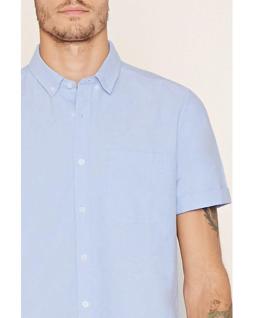 Forever 21 - Blue Cotton-blend Shirt for Men - Lyst