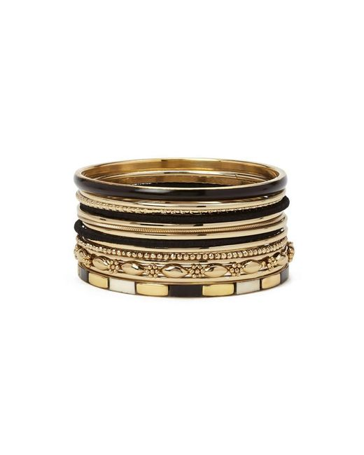 Forever 21 - Metallic Etched Colorblock Bangle Set - Lyst