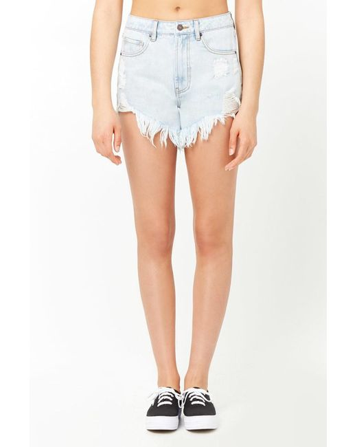 9fcfedd110 ... Forever 21 - Blue Women's Frayed Asymmetrical Denim Shorts - Lyst