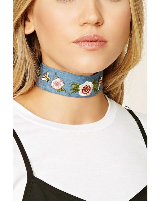 Forever 21 - Blue Floral Embroidered Choker - Lyst