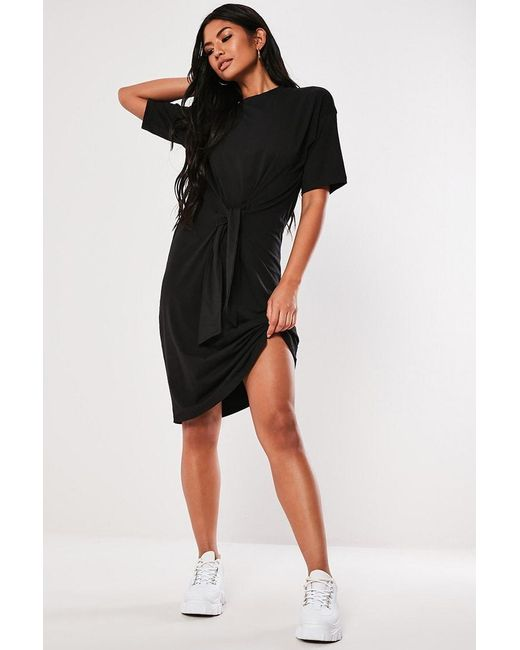 Missguided - Knot-front T-shirt Dress At , Black - Lyst