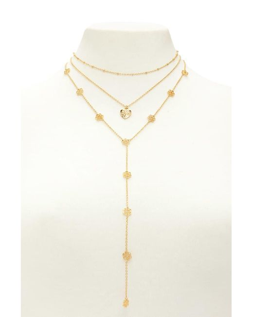 Forever 21 - Metallic Drop Chain Pendant Necklace Set - Lyst
