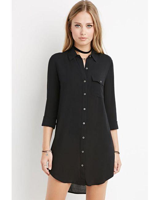 Forever 21 | Black Curved-hem Shirt Dress | Lyst