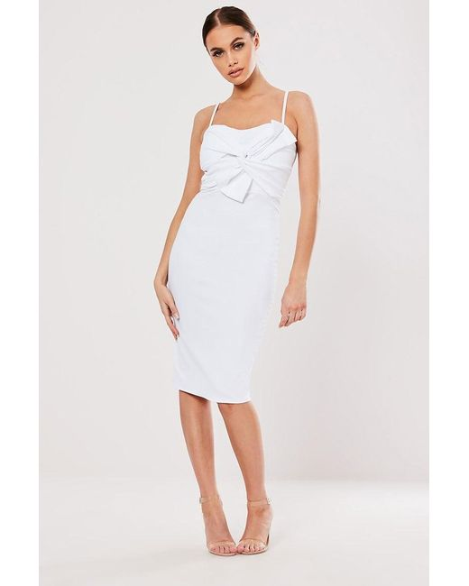 Missguided - White Bodycon Bow Dress At - Lyst
