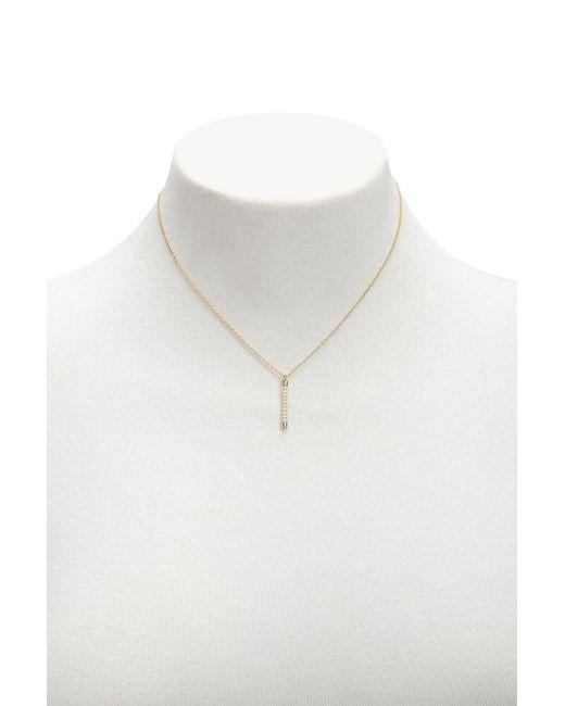 Forever 21 - Metallic Rhinestone Matchstick Pendant Necklace - Lyst